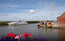 Boating on the broads at Stokesby Norfolk